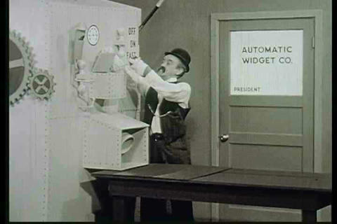 A satiric take on early attitudes about automation Stock Video Footage