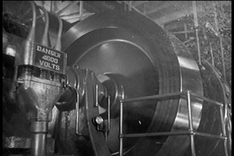Hydroelectric power in the 1940's is the solution  Footage