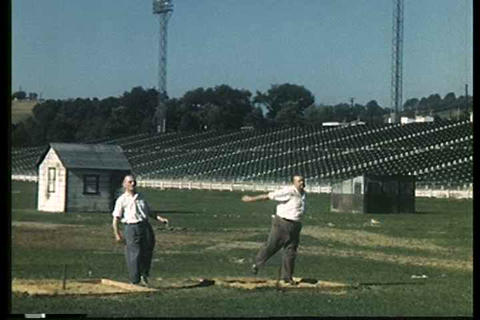 Men play horseshoes in this 1949 home movie Footage