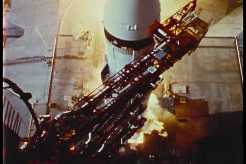 Apollo 11 lifts off from the launchpad Footage