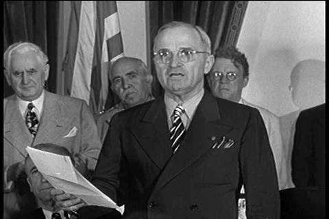 Harry Truman announces the surrender of the Japane Live Action
