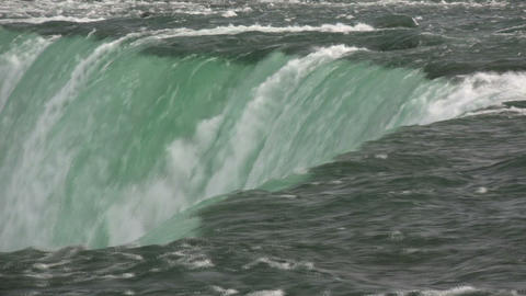 Close-up of water falling over the edge at Niagara Falls Footage