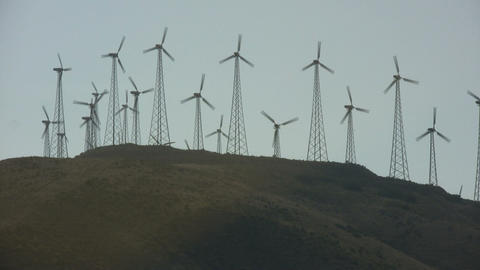 Wind turbines spin in the wind Footage