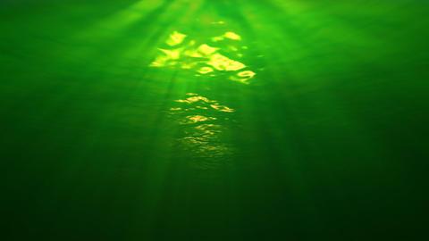 Underwater scene with sunrays penetrating the murkey... Stock Video Footage