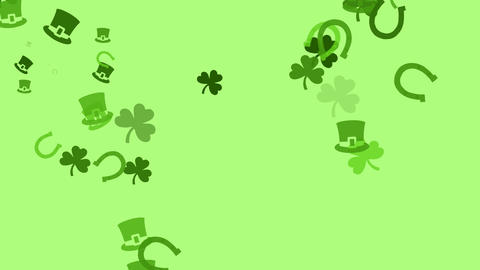 Various Irish symbols are drifting across screen (high definition 1080p) Animation