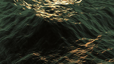 Ocean waves are gently rolling in the low sun (looping, high definition 1080p) Animation