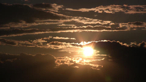Scenic Of A Beautiful Sunset Admist The Clouds (High Definition) stock footage