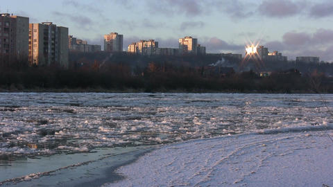 Ice drift in a river at sunset 15 Footage