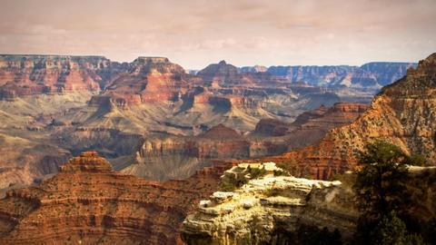 (1133) Grand Canyon Arizona Sunset Landscape Storm Clouds... Stock Video Footage