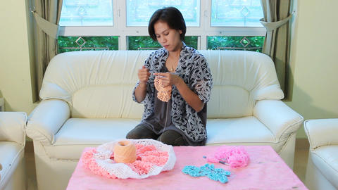 Knitted Crochet stock footage