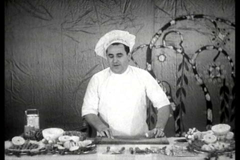 A Chef Displays Some Fine Cutlery In Action During stock footage