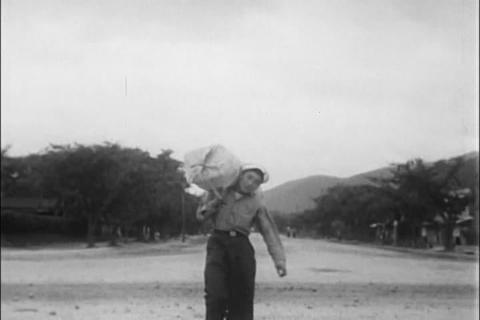 A Korean Navy Sailor Is Transferred To A Land Base stock footage