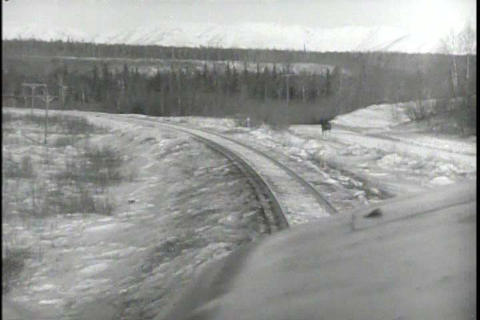 A soldier travels through Alaska to reach the base Footage