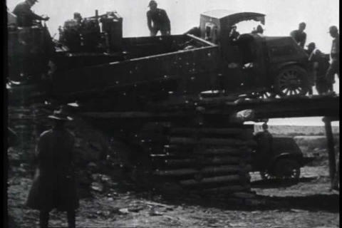 A convoy of military automobiles runs into trouble Footage