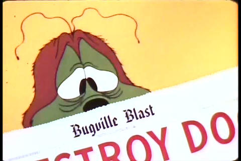 Cartoon Bugs And Insects Read In Their Newspaper A stock footage