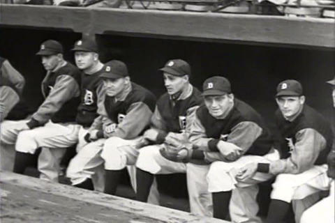 The Detroit Tigers win a big game in 1934 and the  Footage