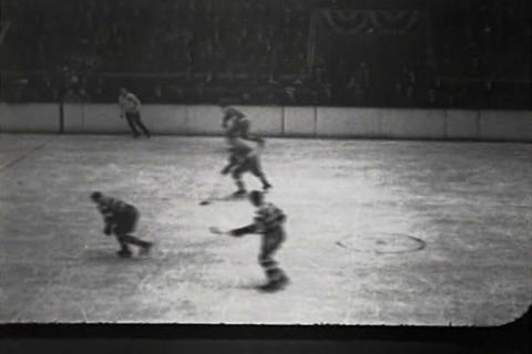 Professional Ice Hockey Game In 1934 stock footage