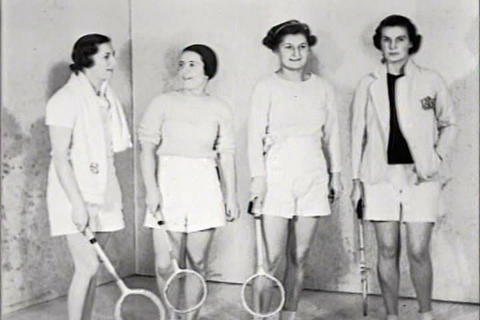 Women play squash in 1934 Footage