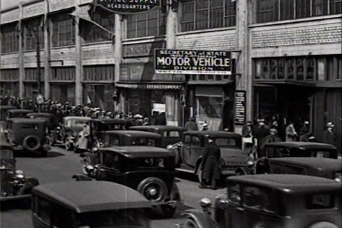 Drivers wait in line for 1934 license plates Live Action