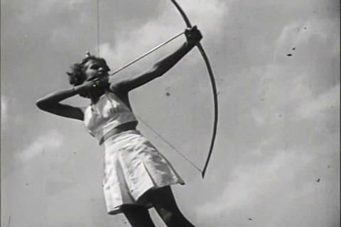 Women practice archery in 1941 Live Action