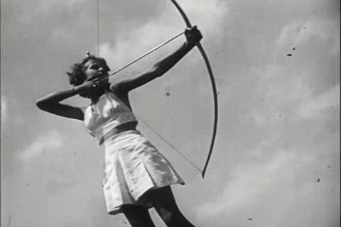 Women practice archery in 1941 Footage