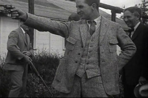 Henry Ford and friends shoot guns in 1923 Footage