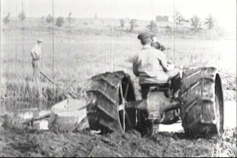 Early Examples Of American Agriculture Using Tract stock footage