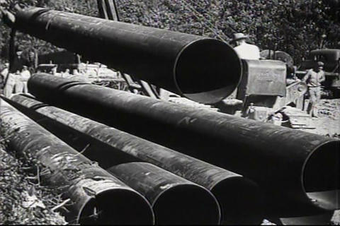 The Big Inch pipeline is laid across America in th Footage