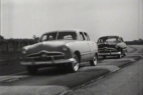 The 1949 Ford is road testing including driving on Live Action