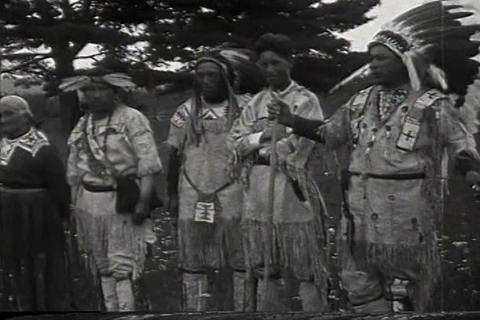 American Indians interact with white people in 192 Footage