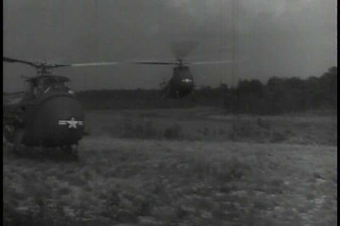 In the 1950s, the U.S. Army develops helicopters f Footage
