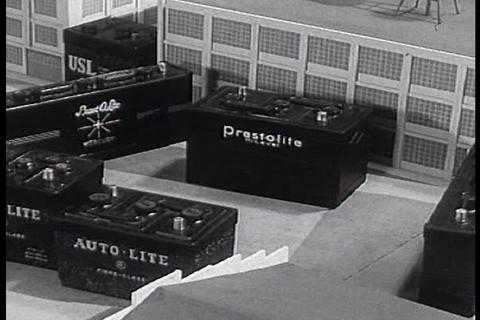 An animated parade of Auto Lite products in this c Footage