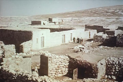 A Middle Eastern Farm Village Is Profiled In 1957 stock footage