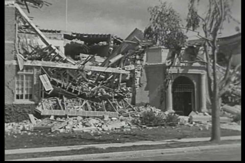 Newsreel footage of the damage from an earthquake  Live Action