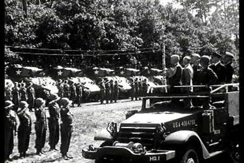 Winston Churchill salutes troops in Berlin in 1945 Footage