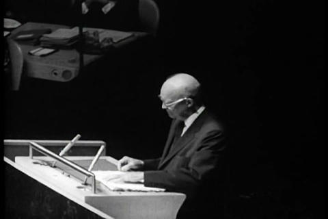 Dwight Eisenhower addresses the United Nations in  Live Action