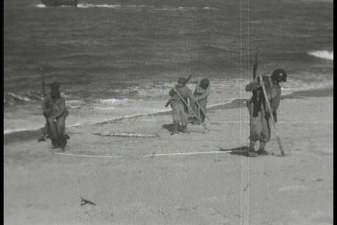 World War Two troops practice amphibious craft lan Footage