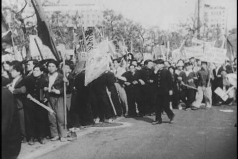 Communist riots in Tokyo, Japan in 1964 Live Action