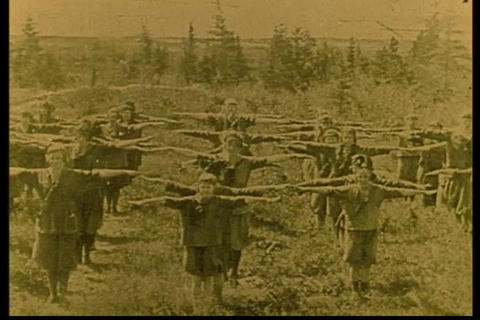 The Girl Scouts Exercise In The 1920s stock footage