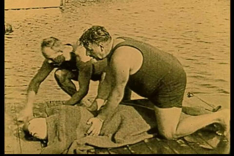 Resuscitation from drowning in 1928 Footage