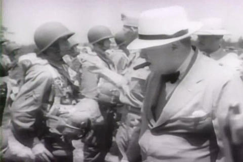 Winston Churchill meets with FDR at White House to Footage