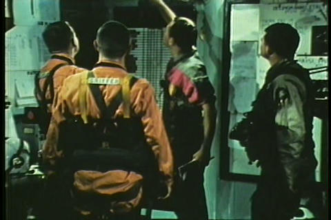 Life aboard an aircraft carrier in the 1960s Stock Video Footage