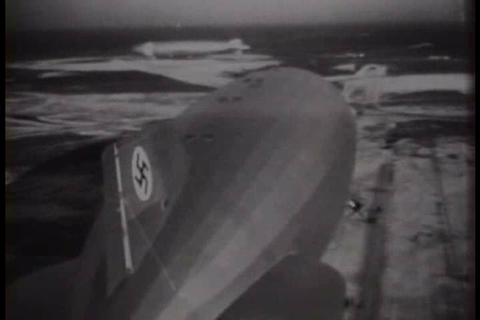 The Hindenburg flies over metropolitan New York in Footage