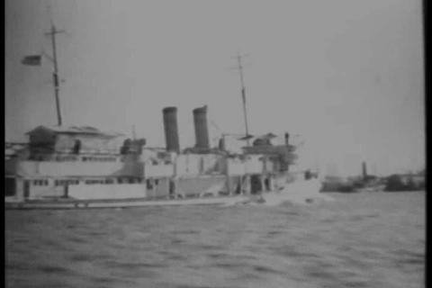 The U.S.S. Panay is attacked on the Yangtze River  Footage