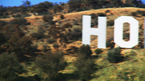 Hollywood Sign, Pan Across Stock Video Footage
