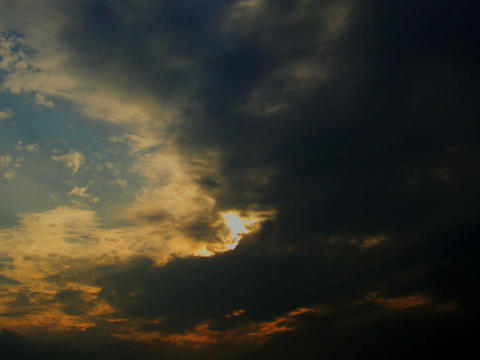 EveningSky 02 mov Float of cloud in evening sky Stock Video Footage