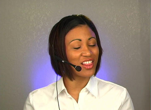 Lovely Young Customer Service Operator Stock Video Footage