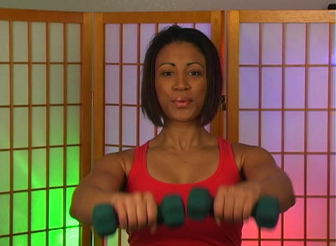 Lovely Young Woman with Hand Weights (3) Footage