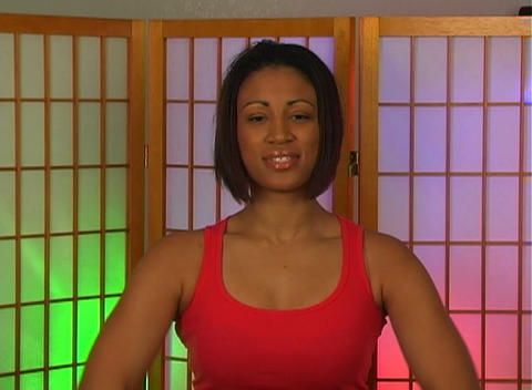 Lovely Young Woman with Hand Weights (5) Stock Video Footage