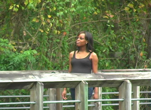 Beautiful Pregnant Woman Walking Outdoors (1) Stock Video Footage